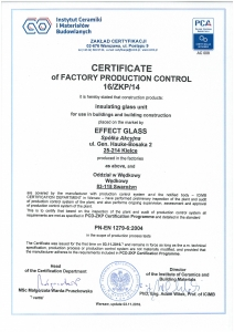 Certificate of factory production control 16/ZKP/14